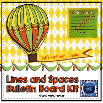 Balloon Theme Lines and Spaces Bulletin Board