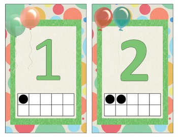 Balloon Themed Alphabet and Numbers 1-10 with 10-frame - green, blue, peach
