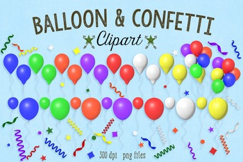 Balloon and Confetti Clipart, Party Clipart