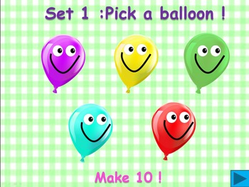 Balloon pop freebie -  Make 10 !   (A number bond game)