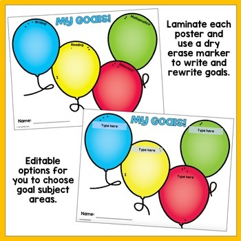 Ballooning Student Goal Display Balloon Themed Editable
