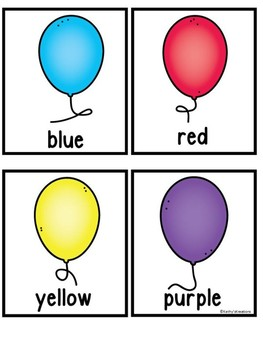 Balloons - A Color Recognition Fingerplay & Memory Cards FREE
