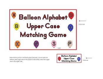 Balloons Alphabet Upper case File Folder Game