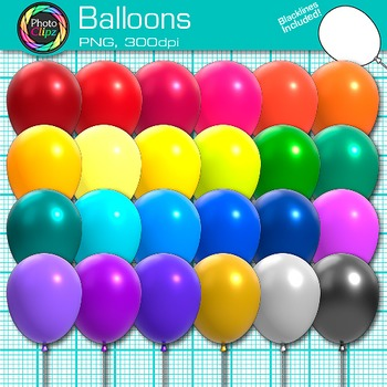 Rainbow Balloon Clip Art {Birthday and Holiday Graphics for Classroom Resources}