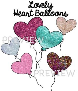 Balloons Clip Art - Glitter Hearts