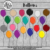 Balloons Clip Art Set for printable and digital resources