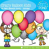 Crazy Balloon Kids Clipart