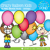 Crazy Balloon Kids Clipart