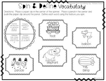 Speech Language and Literacy Balloons Over Broadway Quick Prep Book Companion