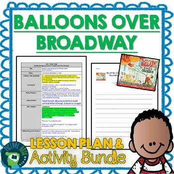 Balloons Over Broadway by Melissa Sweet 4-5 Day Lesson Plan
