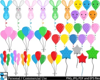 Balloons Party - Clip Art Digital Files Personal Commercial Use cod239