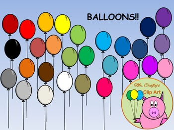 Balloon Clip Art! Single Balloons in 28 Different Colors