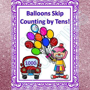 "Balloons ""Skip Counting Flash Cards"" (By 10)"