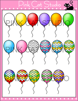 Balloons: Solids and Patterns Clip Art Set - Personal & Commercial Use