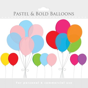 Balloons clipart - clip art, party clipart, colorful, cute
