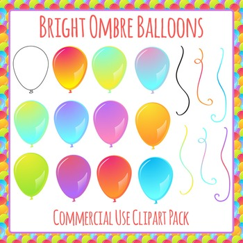 Balloons in Bright Ombre Colors Clip Art Pack for Commercial Use