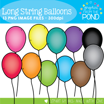 Balloons with Long Strings Clipart Set