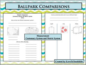 Ballpark Benchmark Measurement Comparisons Notepage Metric Customary System