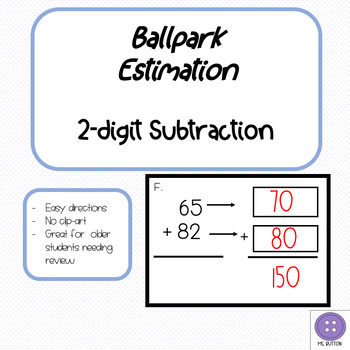 Ballpark Estimation 2-Digit Subtraction Task Cards