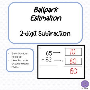Ballpark Estimation 2-Digit Subtraction Task Cards