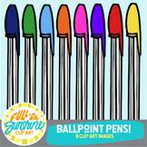 Ballpoint Pens in Rainbow Colors [Full-On Sunshine Clip Art]