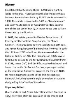 Balmoral Castle Handout