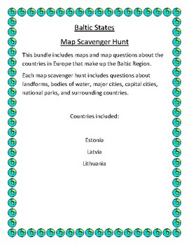 Baltic States Map Scavenger Hunt by Mr Matthews Teacher Store | TpT