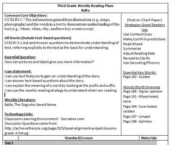 Balto Lesson Plan - Common Core Aligned - Harcourt Trophies