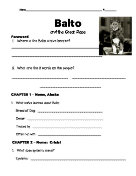Balto and the Great Race (Totally True Adventures Series) - Comprehension Packet