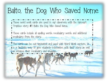 Balto, the Dog Who Saved Nome Fluency Cards - Harcourt