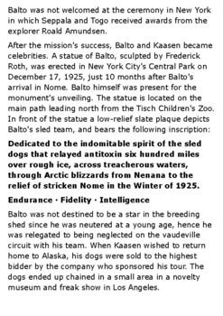 Balto, the Dog Who Saved Nome Handout