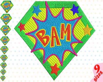 Bam Comic Book Embroidery Design superhero hero pop art Speech Bubbles 149b