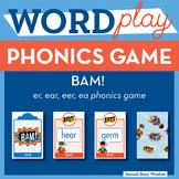 Bam! r-controlled er, ear, eer, long vowel ea Phonics Game