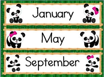 Bamboo Forest (Panda Theme) Class Calendar Essentials