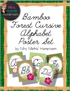 Bamboo Forest (Panda Theme) Cursive Alphabet Posters (Alphabet Line)