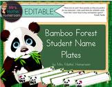 Bamboo Forest (Panda Theme) EDITABLE  Student Name Plates