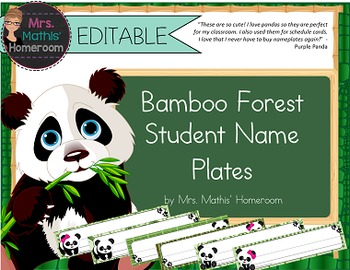 Bamboo Forest (Panda Theme) EDITABLE  Student Name Plates