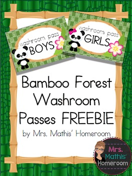 Bamboo Forest (Panda Theme) Washroom Passes FREEBIE