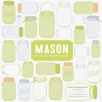 Bamboo Mason Jars Clipart & Vectors - Ball Jar Clipart