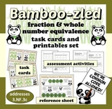 Bamboo-zled - fraction & whole number equivalence task cards and printables set