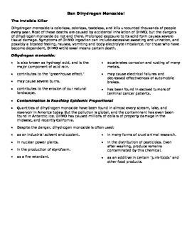 Ban Dihydrogen Monoxide - Student Debate