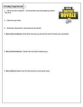 Ban Fortnite: Save our Relationships!  An Argumentative Essay Activity