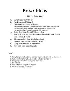 Movement Break Ideas for School