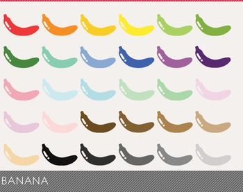 Banana Digital Clipart, Banana Graphics, Banana PNG, Rainb