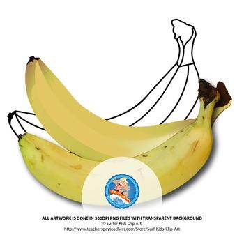 Banana : Photo, Vector, Black and White Outline
