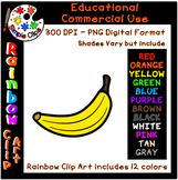 Banana - Rainbow Clipart - 12 Colors - Commercial Use {Sim
