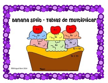 Multiplication Facts - Banana Split - in Spanish