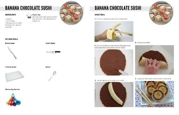 Banana Sushi Recipe with visual instructions for special needs students