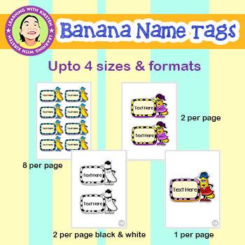 Banana Theme Name Tags and Labels
