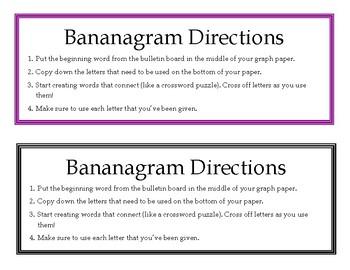 Weekly Challenge: Bananagrams Bulletin Board FREEBIE!